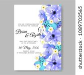 invitation or wedding card with ... | Shutterstock .eps vector #1089703565