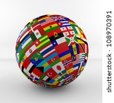 flag globe with different... | Shutterstock . vector #108970391
