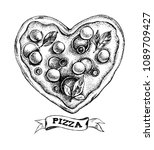 pizza in the form of a heart.... | Shutterstock .eps vector #1089709427