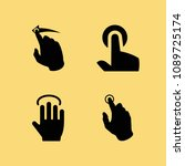 filled set of 4 hand icons such ... | Shutterstock .eps vector #1089725174