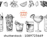 alcoholic cocktails hand drawn...   Shutterstock .eps vector #1089725669