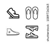 outline set of 4 shoes icons...   Shutterstock .eps vector #1089726365
