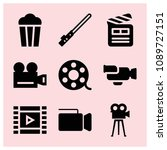 filled cinema icon set such as... | Shutterstock .eps vector #1089727151