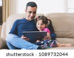 father and child daughter... | Shutterstock . vector #1089732044