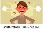 cartoon man is upset. negative...   Shutterstock .eps vector #1089735461