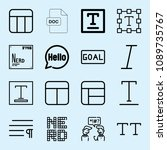 outline set of 16 word icons... | Shutterstock .eps vector #1089735767