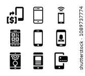 filled set of 9 cellphone icons ... | Shutterstock .eps vector #1089737774