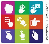 filled set of 9 gestures icons... | Shutterstock .eps vector #1089738644