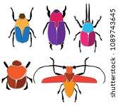 vector beetle silhouettes ... | Shutterstock .eps vector #1089743645