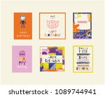 awesome birthday cards with...   Shutterstock .eps vector #1089744941