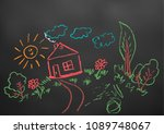 childlike drawing. elements for ... | Shutterstock .eps vector #1089748067