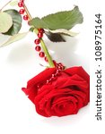 beautiful red rose on white... | Shutterstock . vector #108975164