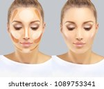 contouring.make up woman face.... | Shutterstock . vector #1089753341