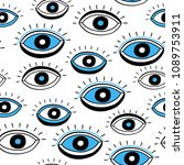 seamless pattern with eyes.... | Shutterstock .eps vector #1089753911