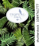 vector tropical leaves banner... | Shutterstock .eps vector #1089761777