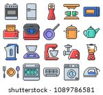 outlined pixel  icons set of... | Shutterstock .eps vector #1089786581