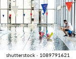 young water aerobics instructor ... | Shutterstock . vector #1089791621