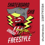 sk8. vector placard with hand...   Shutterstock .eps vector #1089795584