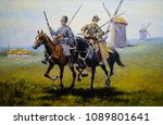 Oil paintings landscape. Fine art. Cossacks.