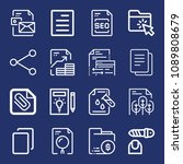 set of 16 file outline icons... | Shutterstock .eps vector #1089808679