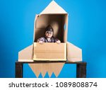 kid in helmet and pilot glasses ... | Shutterstock . vector #1089808874