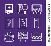 set of 9 book outline icons...