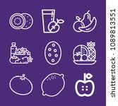 set of 9 fruit outline icons... | Shutterstock .eps vector #1089813551