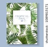 vector tropical leaves banner... | Shutterstock .eps vector #1089815171