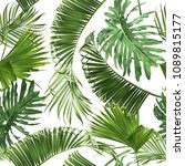 vector tropical leaves seamless ... | Shutterstock .eps vector #1089815177