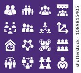 set of 16 group filled icons... | Shutterstock .eps vector #1089815405