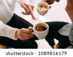 conversation about coffee.... | Shutterstock . vector #1089816179
