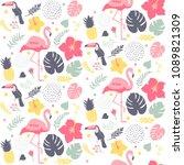 tropical seamless pattern | Shutterstock .eps vector #1089821309