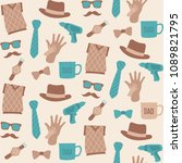 seamless pattern of fathers day | Shutterstock .eps vector #1089821795