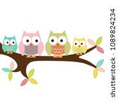 four owls on a branch | Shutterstock .eps vector #1089824234