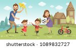 family fun at home. father ... | Shutterstock .eps vector #1089832727