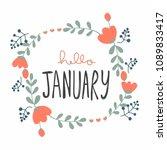 hello january cute flower... | Shutterstock .eps vector #1089833417