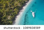 a white sailing yacht anchoring ... | Shutterstock . vector #1089838589