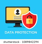 computer with login and...   Shutterstock .eps vector #1089842294