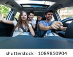 group of happy friends sharing... | Shutterstock . vector #1089850904