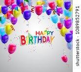 happy birthday balloons... | Shutterstock .eps vector #1089852791