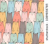 hand drawn cute bears vector... | Shutterstock .eps vector #1089858785