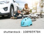 accident car crash with bicycle ... | Shutterstock . vector #1089859784