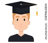 young man graduating with... | Shutterstock .eps vector #1089863804