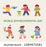 environmental day cute children.... | Shutterstock .eps vector #1089870581