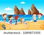 limbo dance on the beach...   Shutterstock .eps vector #1089871505
