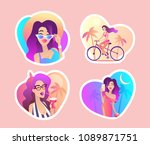 summer fashion girls look with... | Shutterstock .eps vector #1089871751