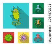 types of funny microbes flat... | Shutterstock .eps vector #1089872321