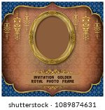 royal gold frame on pattern... | Shutterstock .eps vector #1089874631
