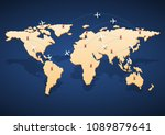 world map with flight routes...   Shutterstock .eps vector #1089879641