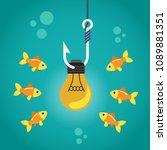 light bulb on fishing hook and... | Shutterstock .eps vector #1089881351